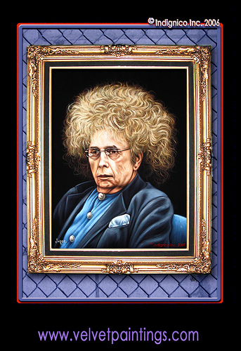 Modern American Media Martyr Phil Spector Hand-Painted On Black Velvet In Tijuana Mexico for The American Tabloid Heroes Collection of Indignico Inc.