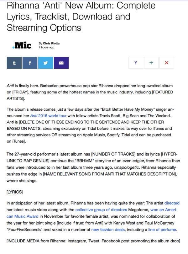 "Yahoo Mic Rihanna ""Anti"" Review"